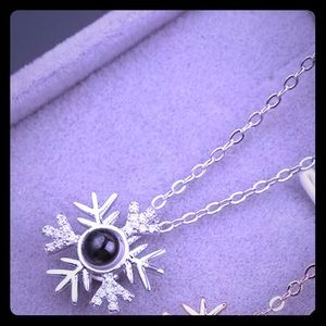 Silver crystal snowflake-I love you- necklace